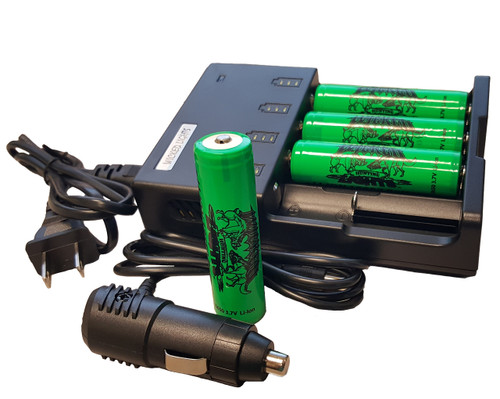 WICKED LIGHTS UNIVERSAL 4-POSITION LI-ION CHARGER AND 4 PACK LITHIUM ION 18650 2900 MAH RECHARGEABLE BATTERIES