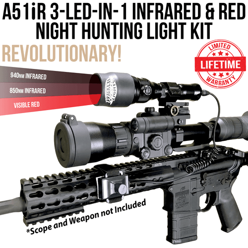 Wicked Lights A51iR 3-LED-In-1 Infrared & Red Night Hunting Light Kit for Night Vision