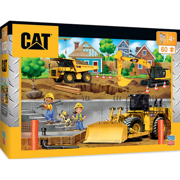 Caterpillar In My Neighborhood Right Fit - Construction Trucks 60 Piece Kids Puzzle