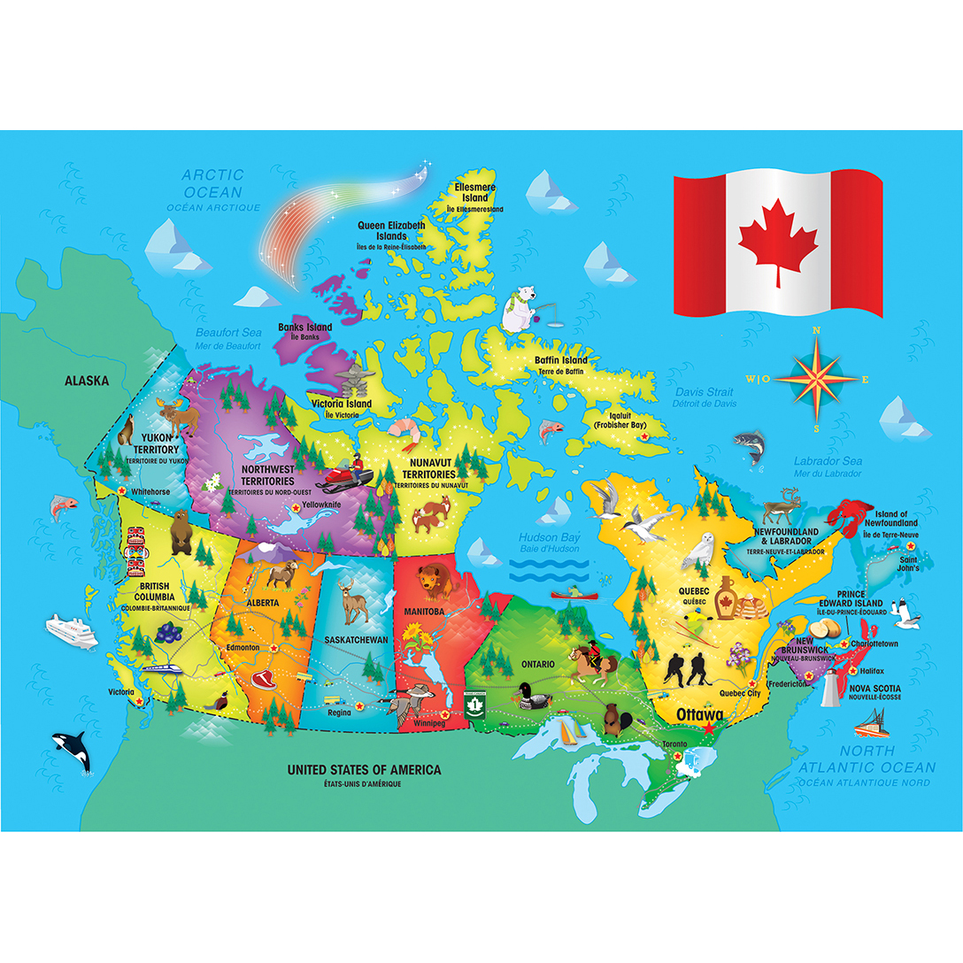 Map 60.Explorer Kids Canadian Map 60 Piece Kids Puzzle