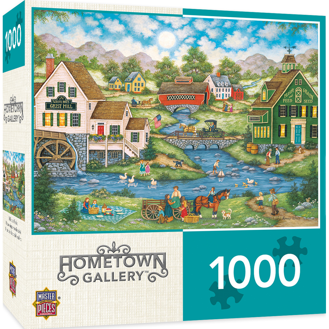 Hometown Gallery Millside Picnic 1000 Piece Jigsaw Puzzle