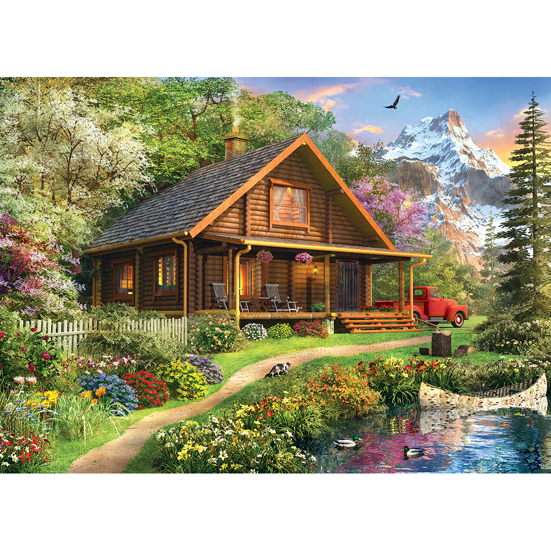 Time Away Mountain Retreat Log Cabin 1000 Piece Jigsaw