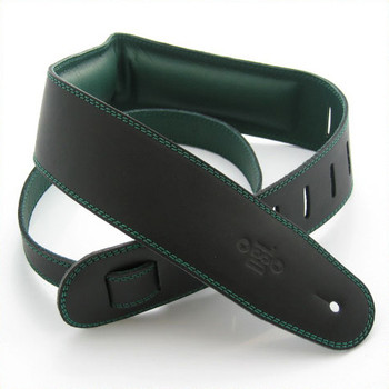 "DSL 2.5"" Padded Garment Black/Green Guitar Strap"