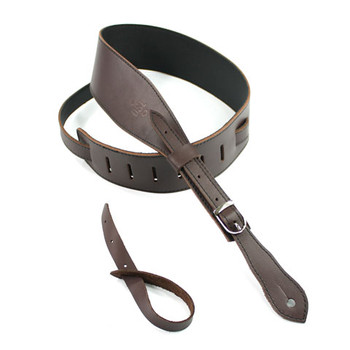 "DSL 2.5"" Buckle Slender Saddle Brown/Black Guitar Strap"