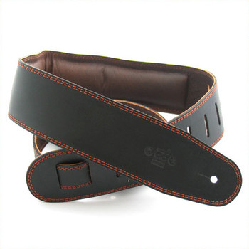 "DSL 2.5"" Padded Garment Black/Brown Guitar Strap"