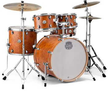 Mapex Storm Rock 5pc Drum Set Camphor Wood Grain with Hardware and Bonus Floor Tom, Bag Set and Throne