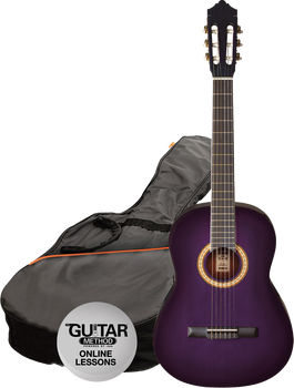 Ashton CG44TP Full Size Classical Guitar Starter Pack Purple