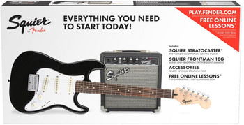 Squier Strat SS Pack Short-Scale Black with Frontman 10G Amp