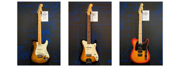 (L to R) The Strat-Tele Hybrid, The Jazz Tele, The American Elite Telecaster HSS