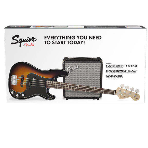 Squier Precision Bass PJ and Rumble 15 Pack Sunburst