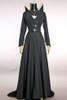 Elegant Dark Sorceress Micro Suede Long Gown