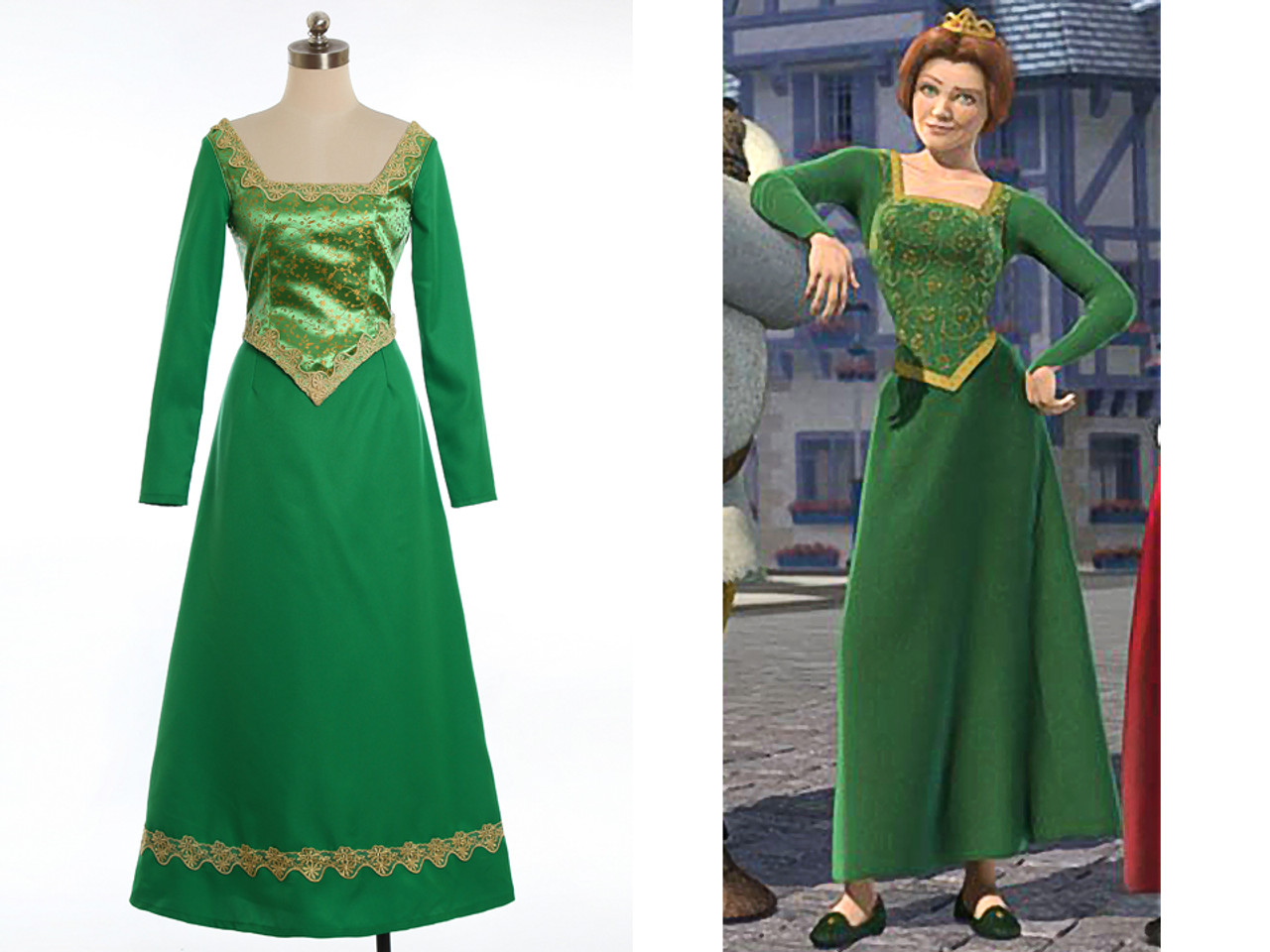 Disney Shrek Cosplay Princess Fiona Costume Renaissance Wedding Dress