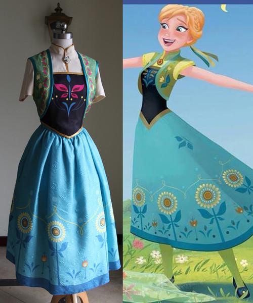 Disney Frozen Fever Cosplay, Anna Costume Set