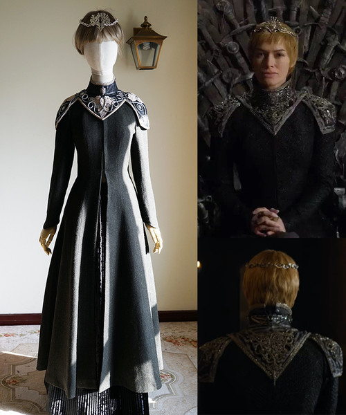 Game of Thrones Season 7 (TV Series) Cosplay, Cersei Lannister Coat Costume for Women Crowned Queen of the Seven Kingdoms