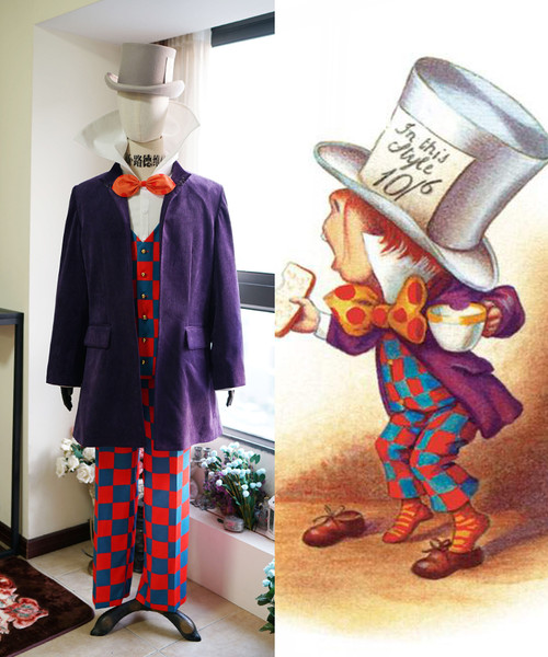 Alice's Adventures in Wonderland Cosplay, Mad Hatter  (Novel Illustration) Costume Set