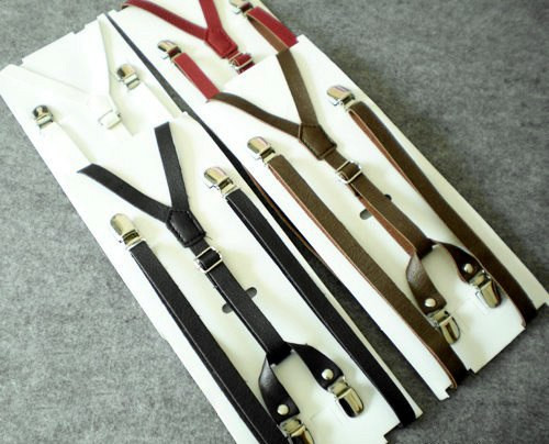 Gothic Dandy Fake Leather Suspenders