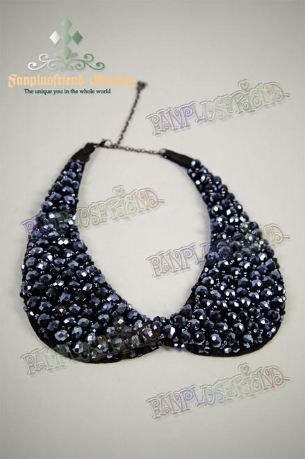 Gothic Deep Blue Beads False Collar Choker Necklace
