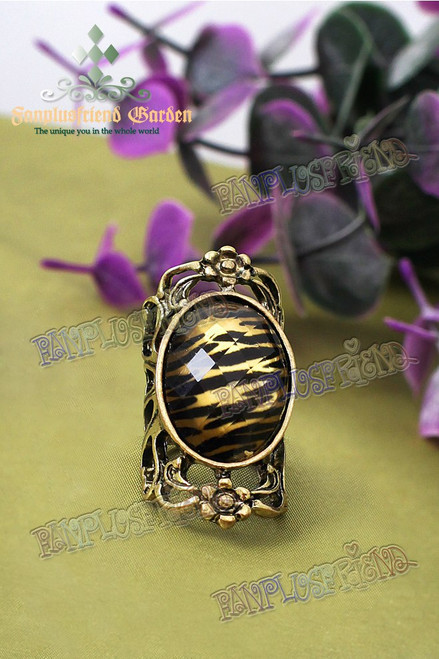 Gothic Punk Tiger-Skin Pattern Jewel Ring
