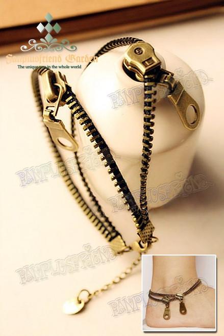 Gothic Punk Antique Bronze Zipper Anklet
