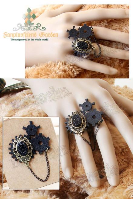 Steampunk Gothic Black Crystal & Gear Wheel Ring