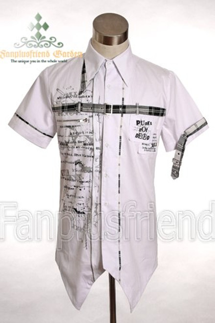 LAST CHANCE: Gothic Punk Cross Check Straps Buckle Short Sleeves White Shirt*Instant Shipping