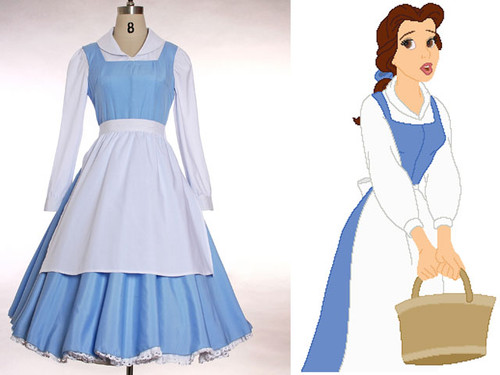 Disney Beauty and the Beast Cosplay,Belle 3pcs Outfit