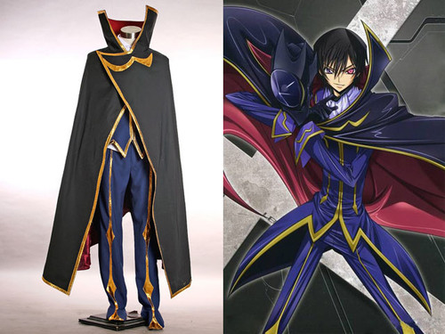 Code Geass R2 Cosplay, Lelouch/Zero Fine Trench Suit Costume