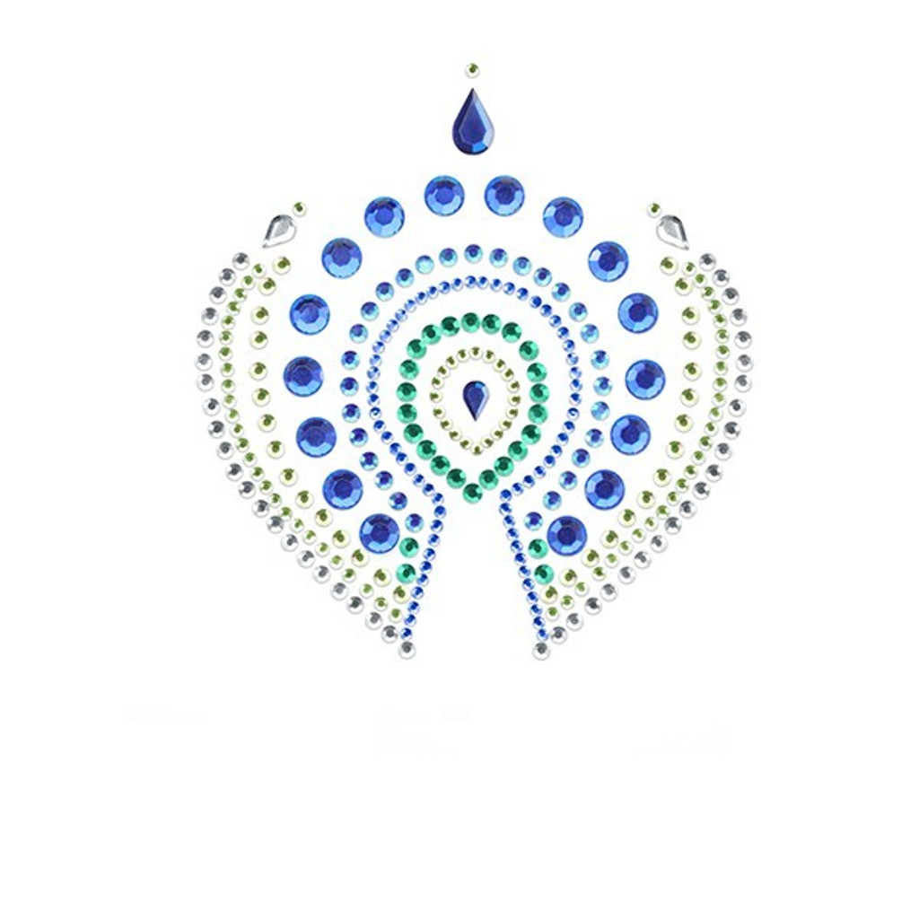 Bijoux Indiscrets Flamboyant Crystal Pasties - Blue/Green