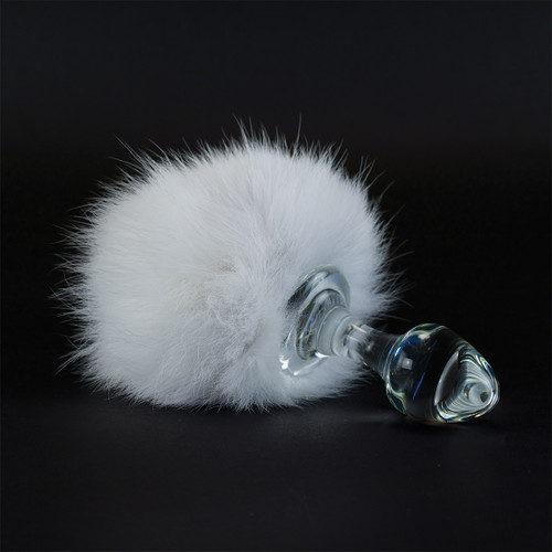 Bunny Tail Magnetic Glass Butt Plug
