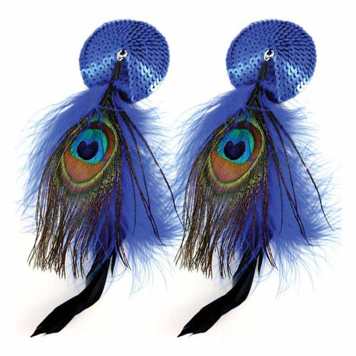 Bijoux de Nip Round Blue Sequin Pasties w/ Feathers
