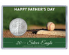 Father's Day Silver Eagle Acrylic Display - Baseball Theme