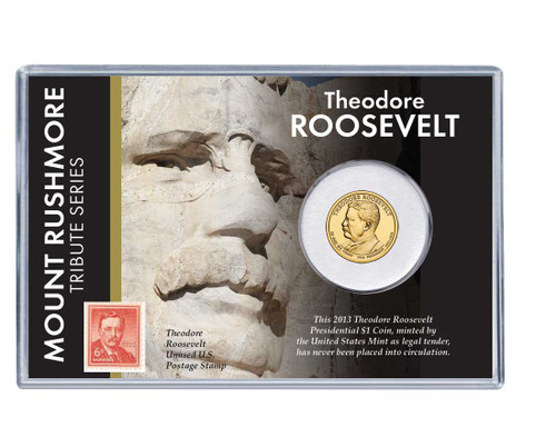 Mt. Rushmore Series: Theodore Roosevelt Dollar Coin and Stamp Set