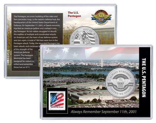 Always Remember 9/11 Pentagon Challenge Coin and Stamp Set
