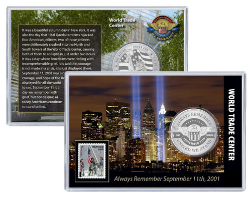 Always Remember 9/11 WTC Challenge Coin and Stamp Set