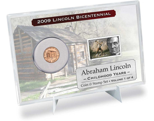 Lincoln Childhood Years Coin & Stamp Set