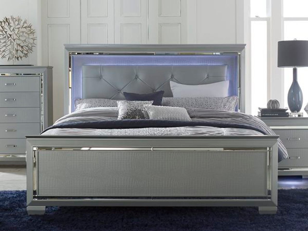 Homelegance Allura Bed 1 & Homelegance Allura Modern Bed Silver with Touch-Engaged LED Lighting ...