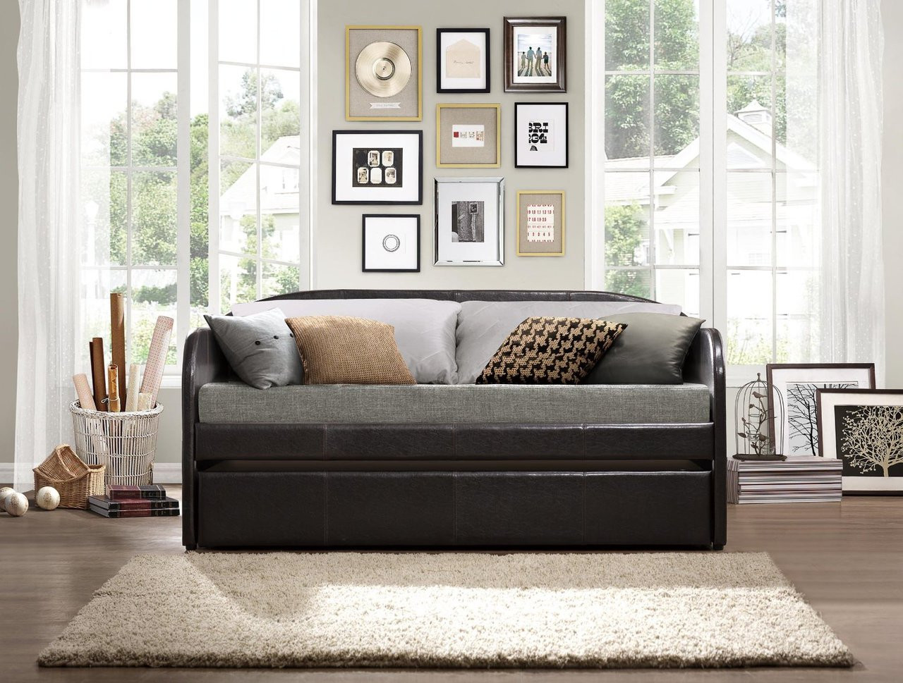 homelegance roland modern brown leather twin daybed with roll out trundle. Black Bedroom Furniture Sets. Home Design Ideas