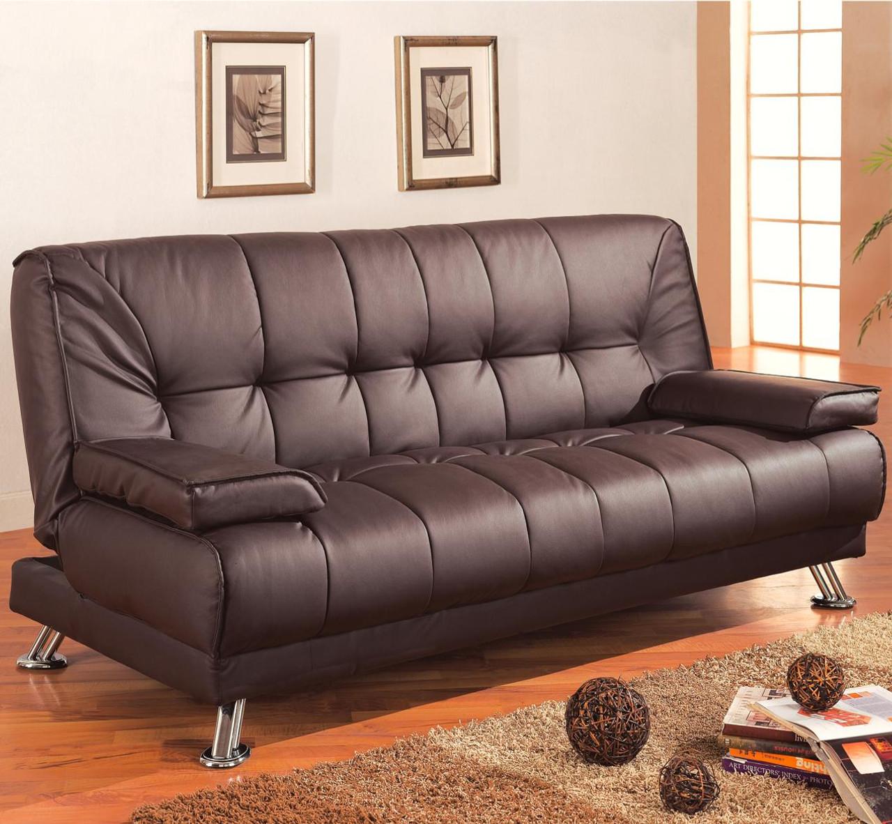 Coaster Braxton Black Faux Leather Futon Sofa Bed Image 1