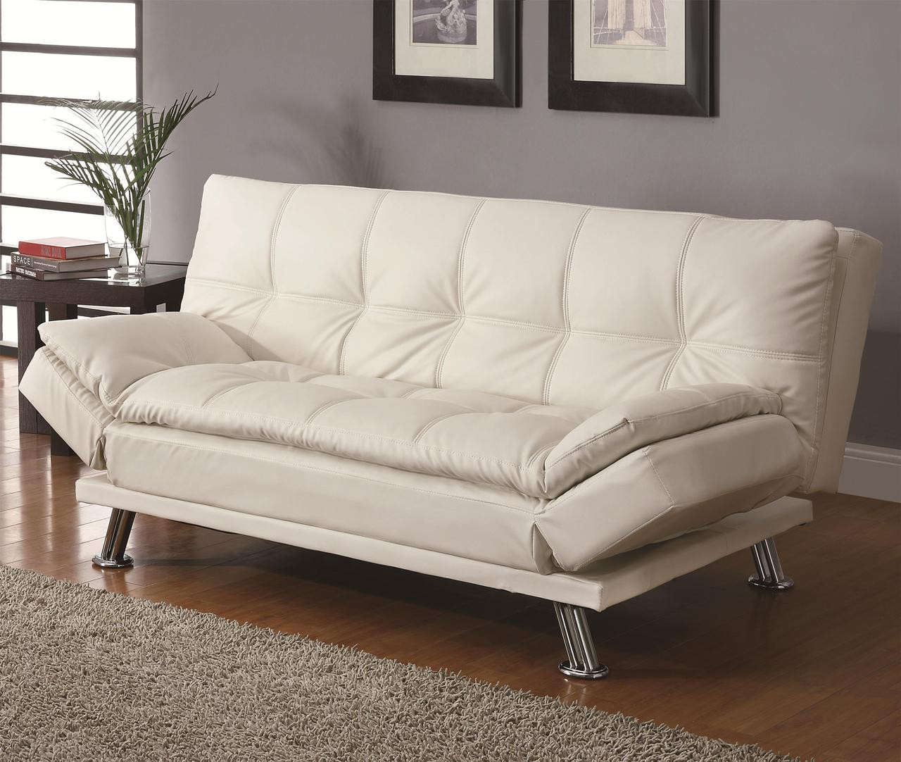 Coaster Dilleston Contemporary Sleeper Sofa Bed In White