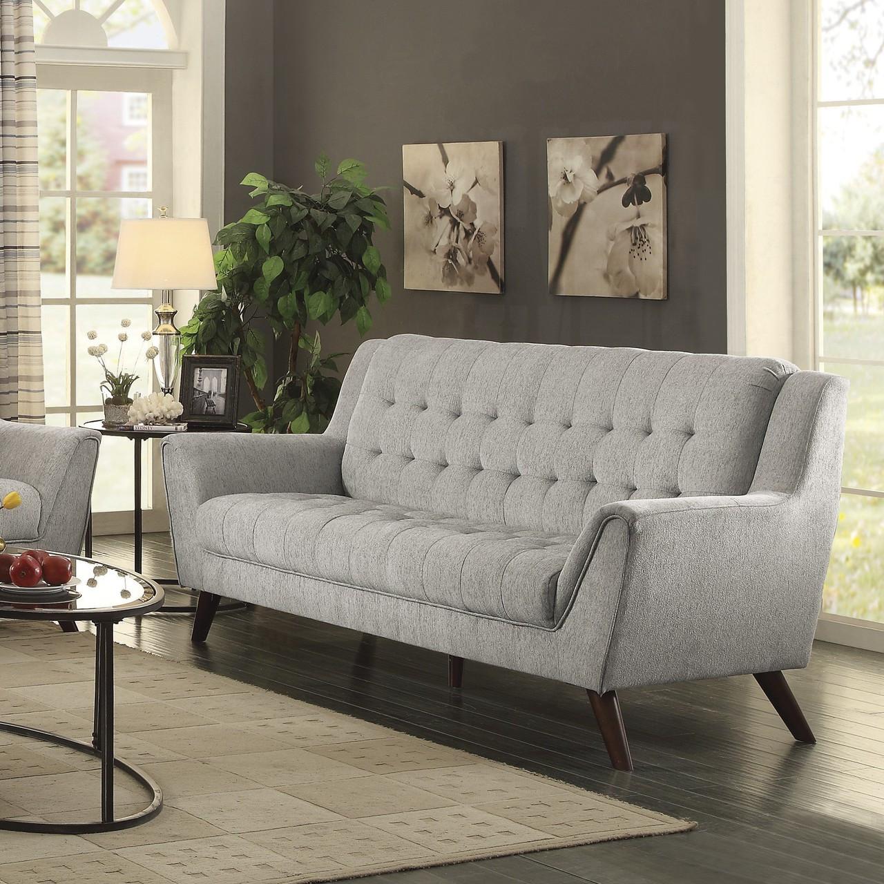 Coaster natalia button tufted modern sofa in dove grey for Sofa 500 euro