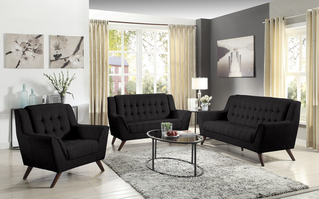 Coaster Natalia 3 Piece Modern Living Room Set In Black
