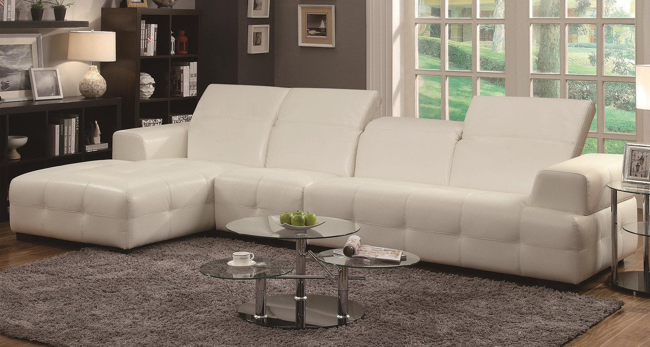 Coaster Darby Contemporary Sectional Sofa With Wide Chaise In White