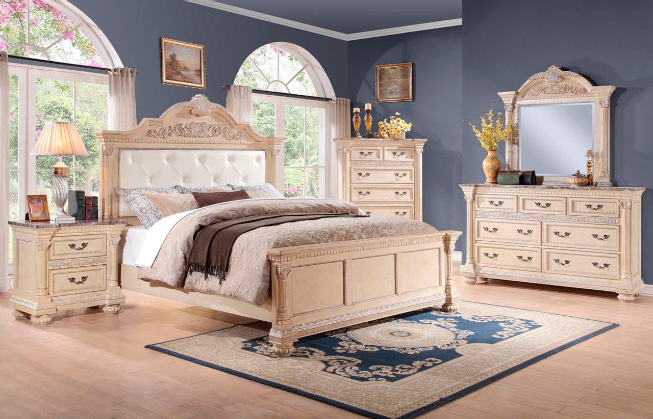 Homelegance Russian Hill 4-Piece Upholstered Bedroom Set in Antique ...