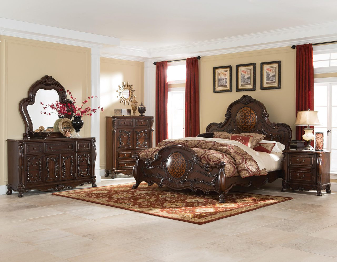 Coaster Abigail Collection 5Piece Sleigh Bedroom Set in Deep Cherry