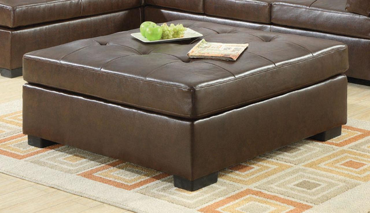 Coaster Darie Leather Cocktail Ottoman In Brown Dealbeds Com
