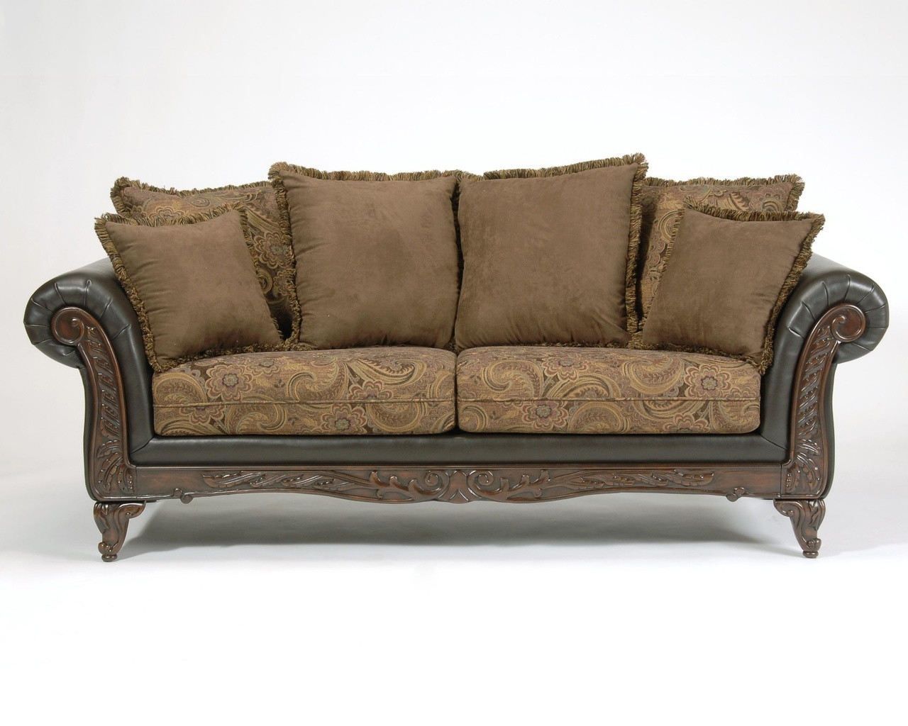 serta upholstery san marino chocolate sofa with wood carved trim rh dealbeds com