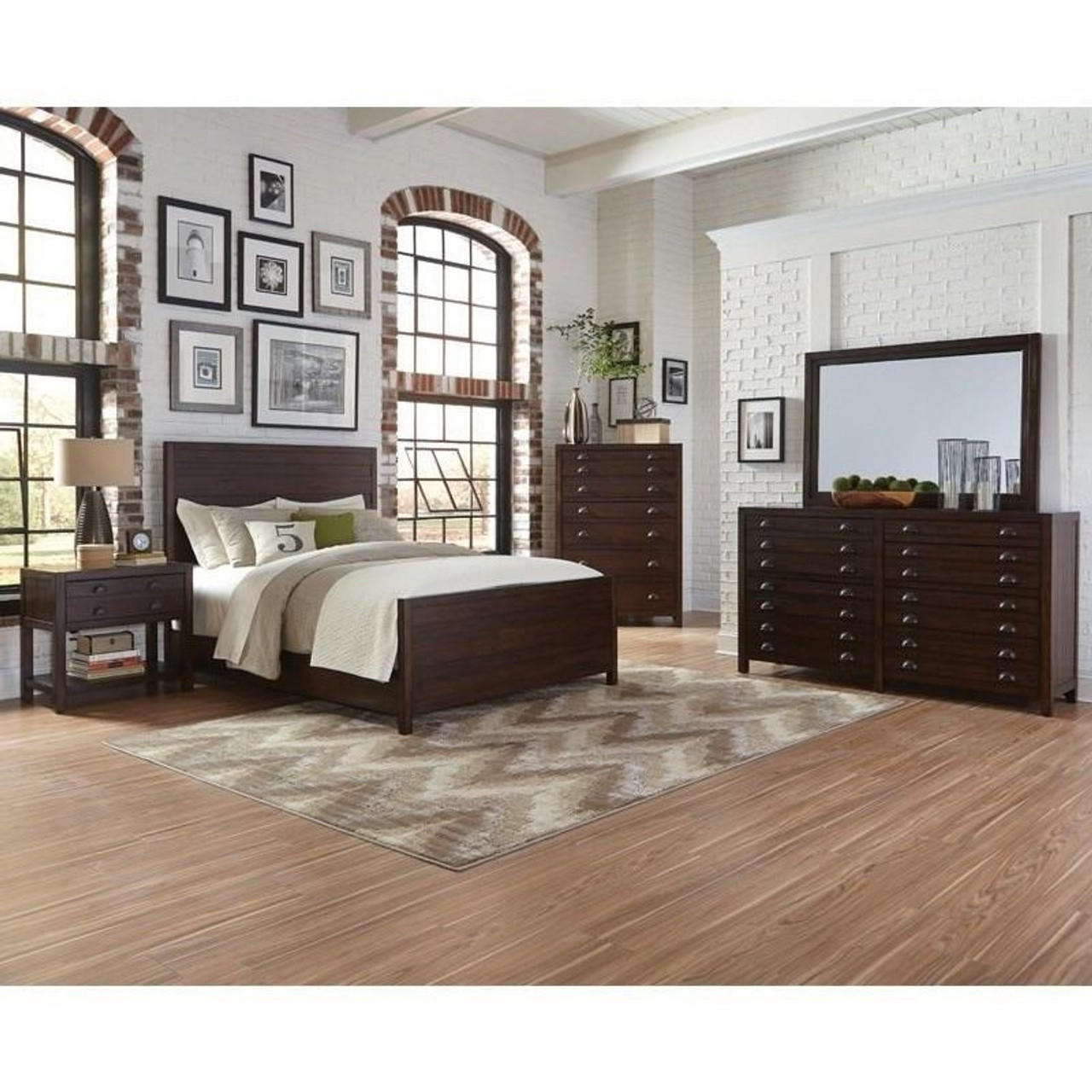 Donny Osmond Lanchester Queen Panel Bed In Cocoa