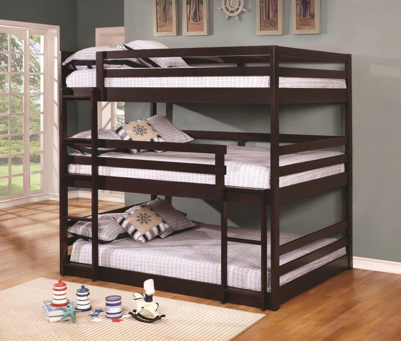 coaster mythos full size triple layer bunk bed in cappuccino. Black Bedroom Furniture Sets. Home Design Ideas