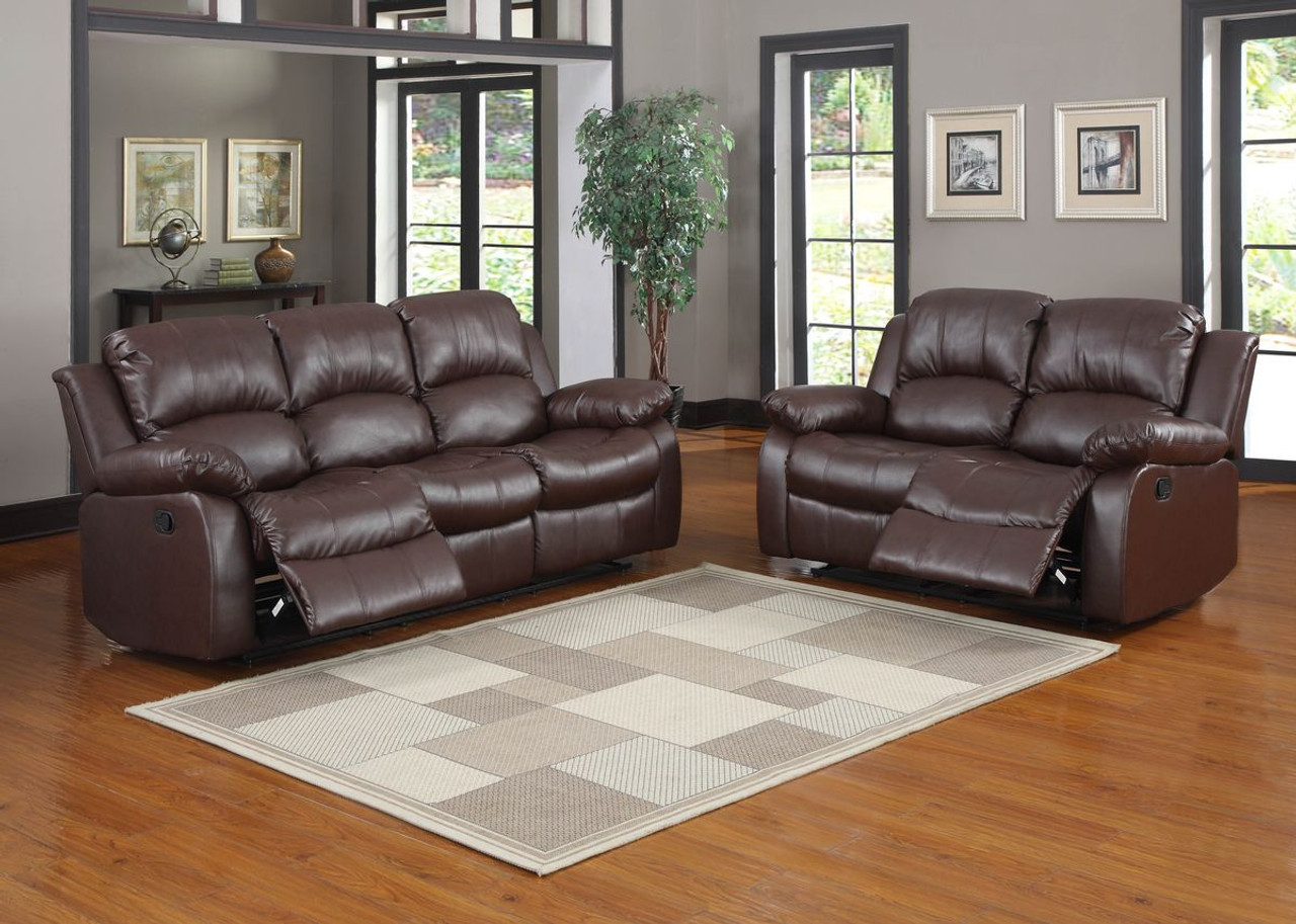 Homelegance cranley double reclining brown leather sofa for Leather sofa and loveseat set