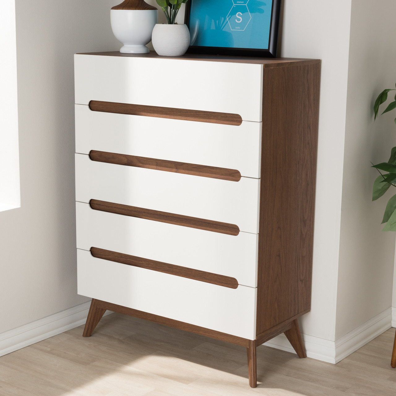 Baxton Studio Calypso Mid Century Modern White And Walnut